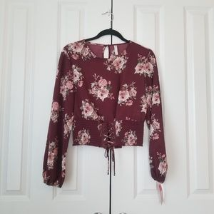 Xhilaration Wineberry Long Sleeve Floral Top